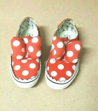 VANS DISNEY MINNIE MOUSE BOW GIRLS RED/WHITE CANVAS SLIP ON SHOES        SIZE 2