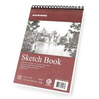 Bachmore Sketchbook 9X12 Inch (68lb/100g) 100 Sheets,TOP Spiral Bound Hard Cover