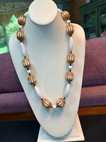 Vintage Coffee Brown  White Lucite Single Strand  Beaded Bib Statement Necklace