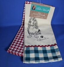 THE PIONEER WOMAN SET OF 2 KITCHEN TOWELS - CHARLIE BASSET HOUND & GEOMETRIC
