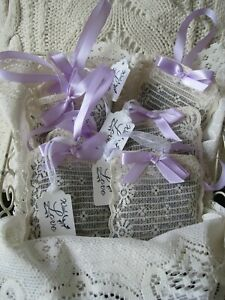 4 pcs Hand Made DRIED LAVENDER SACHET Ribbon Hanging Vtg Ivory Lace Bag-Fragrant