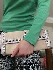 NWOT BCBGirls STYLISH Silver Studded Beige Clutch Handbag Purse