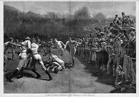FOOTBALL YALE AND PRINCETON COLLEGE FOOTBALL SCRUMMAGE TACKLE BY A. B. FROST