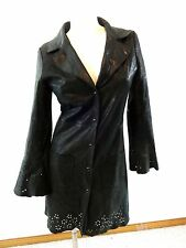 LUCIEN PICCARD WOMENS CHARCOAL BLACK LEATHER JACKET SIZE XS FABULOUS!