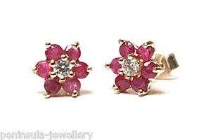 9ct Gold Ruby and CZ Studs cluster earrings Gift Boxed Made in UK