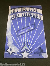 ORIGINAL SHEET MUSIC - LET US LIVE FOR TO-NIGHT