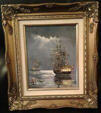 Oil on canvas Two Naval Sailing Warships in moonlight