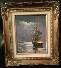 Óleo sobre lienzo dos naval Vela buques de guerra en la Luna