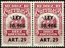 CHILE, 10 ESCUDOS, 1970, LEY 16.466, ART. 29, REVENUE STAMP, MNH, PAIR
