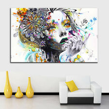 Abstract Colorful Girl Wall Art Large Modern Girl Flower Unframed Canvas Print