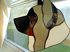 Stained Glass Dog - Akita - grey