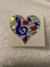Vintage Sticker Sandylion Heart Music Note Prismatic 80s 1985