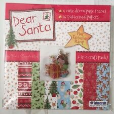 Dear Santa 16 Christmas Patterned Papers 8x8, 4 sheets decoupage, 1 Rubber Stamp
