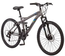 26 in Mongoose Men's Dual Suspension Mountain Bike Cache, Matte Grey