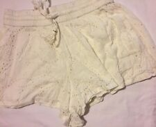 """New Size 8 """"Seed Heritage"""" white fully lined lace dress shorts with pull ties"""