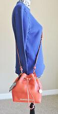 Brahmin Lexie Tango Orange Nepal Soft Leather Mini Drawstring Crossbody NWT