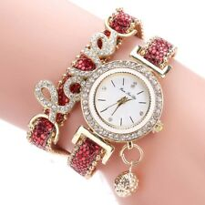 Fashion Women's Stainless Steel Leather Rhinestones Bracelet Quartz Wrist Watch