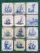 "12 VINTAGE DUTCH DELFT BLUE WHITE SAIL SHIP SAILING BOAT TILES 13X13 CM (5X5"")"