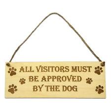 Gift for Dog Owner Hanging Door Sign Wall Plaque Wooden Engraved Novelty Decor