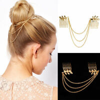 Women Vintage Chic Gold Long Tassel Cuff Style Chains Metal Hair Combs Hairband