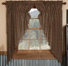 "63"" L Lined Drawstring Prairie Curtains Navy Blue Dark Tan Check Country Style"