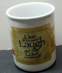 "Cypress Home Utensil Crock Holder  6 1/4"" Tall - Live, Laugh, Love"