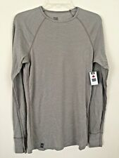 Men's Ibex 220 WooliesCrew Base Layer Size L Beige/Brown Striped Nwt