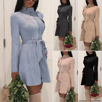 Women Zip Sash Suede Short Mini Party Dress Trench Jacket Ladies Coat Plus Size