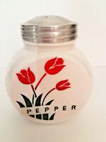 Vtg Vitrock Red Tulips Milk Glass Pepper Range Shaker Disc with Ridged Sides