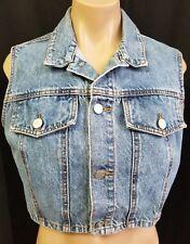 Vintage 90s BONGO Cropped Jean Vest Size Large USA Blue Denim Gene Montesano