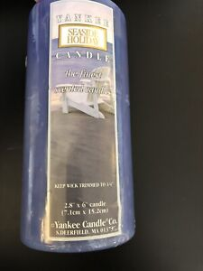 Yankee Candle SEASIDE HOLIDAY  Pillar 2.8 X 6 inches Blue Beachy Discontinued