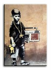 Large Wall Art Canvas Print of Banksy Ghetto Boy Framed
