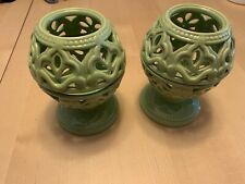 New ListingVintage Ceramic Candle Holders, Leafy Woven Design, Green Set Of 2, Notes