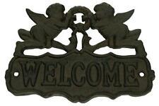 Rustic Vintage Cast Iron Angel Welcome Sign Garden Wall Fence Gate Door Art