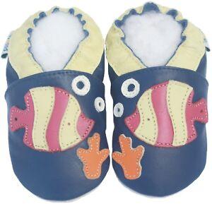 Littleoneshoes Soft Sole Leather Baby Infant Kid child crib shoes FishNavy 6-12M