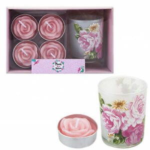 5PC VOTIVE TEA LIGHT CANDLES HOLDER GIFT SET MOTHERS DAY MUM GIFT UK