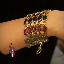 Bracelet Large Multirang Art Deco Vert Bordeaux Retro Original Soirée Cadeau CT2