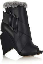 Nicholas Kirkwood Black Leather Fur Trim Ankle Boots Architectual Wedge Size 7