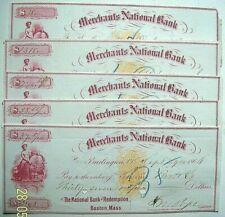 1866 Merchants National Bank, Burlington VT - 5 Checks, superb Vignettes, RN-B1