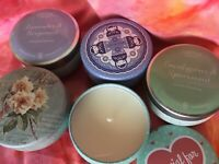 LOT of 5 Aromatherapy Scented Candles in 2 oz Travel Tins with Lid Covers NEW