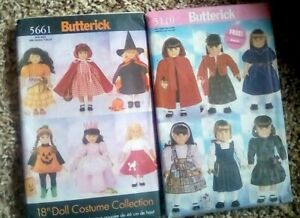 """Uncut Butterick 5661 18"""" Doll Clothes Halloween Costumes Sewing Pattern+ Another"""