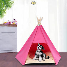 Bg_ Fe- Outdoor Indoor Foldable Teepee Dog Bed Pentagons Pet House with Cushion