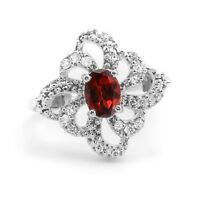 925 Red Garnet Sterling Silver Ring Natural Gemstone Size 4 5 6 7 8 9 10 11