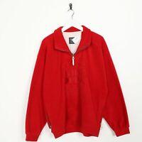 Vintage 90s THINK PINK Big Logo 1/4 Zip Fleece Sweatshirt Red | Small S