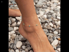 """Beach Chain Bracelet Adjustable 8""""+2""""Inch Women 14k Gold Charms Turquosia Ankle"""