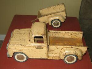 Vintage Tonka Toys Mound MN Red Pressed Steel Stepside Pick Up Truck & Trailer