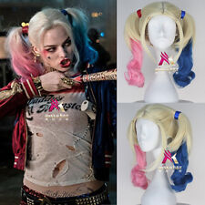 Women Long Curly Suicide Harley Quinn Squad Halloween Anime Cosplay Wig