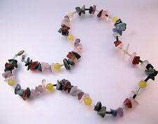 "Semi Precious Uncut Stone Nugget Necklace 17.5"" Multi Color Vintage Jewelry"