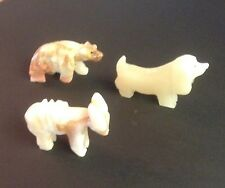 Lot Of 3 Carved Alabaster Animals Dog Bear & Donkey Figurines
