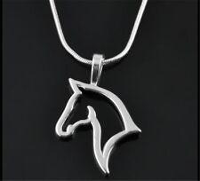 Punk Men Women Unisex Swift Horse Head Silver Tone Chain Necklace Pendant Gifts